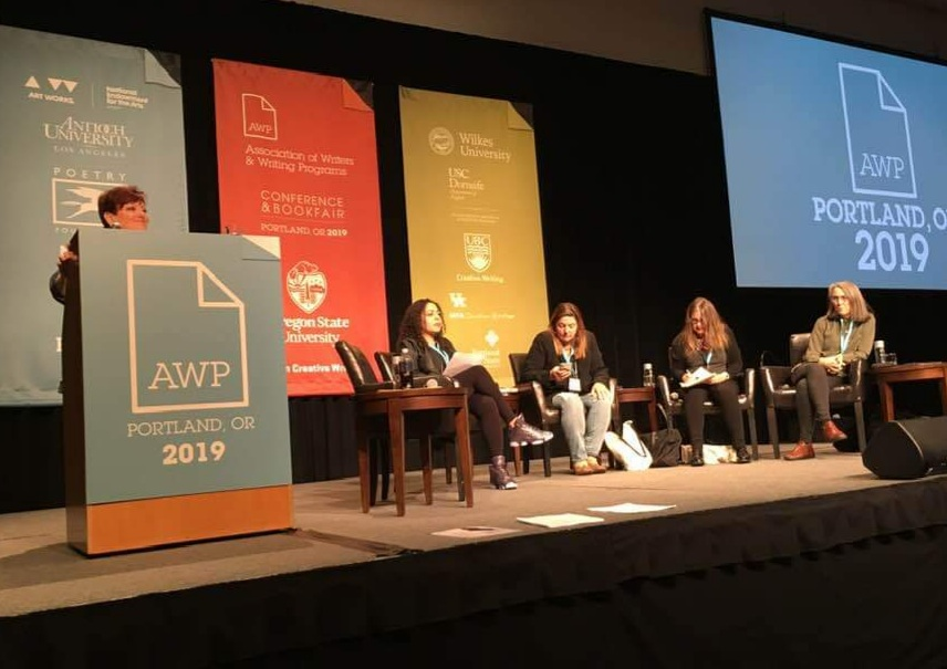 AWP 2019 photos from Write to Climax: Women Writing About Sex. (I think that was the title!) Left to right in both photos, I'm the one you can barely see over the podium. Jaquira Diaz, Pam Houston, Janet Fitch, and Kate Daniel's.